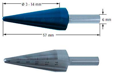 Сверло коническое, Ø=3-14 мм