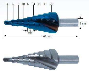 Сверло ступенчатое, Ø=4-20 мм