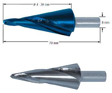 Сверло коническое со спиралью, Ø=4-20 мм