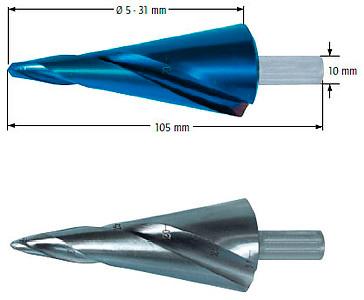 Сверло коническое со спиралью, Ø=5-31 мм