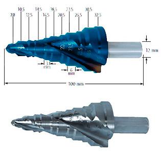 Сверло ступенчатое для кабельных резьбовых соединений, Ø=7-32,5 мм